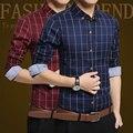 2016 Moda de Nueva Marca Slim Fit Hombres de Manga Larga Camisa Para Hombre de Algodón a cuadros Informal Camisa Masculina Sociales Más El Tamaño 5XL Ropa de Los Hombres azul