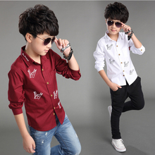 4 Color 2016 new spring summer fashion children shirts for boys kids shirts blouses chemise garcon