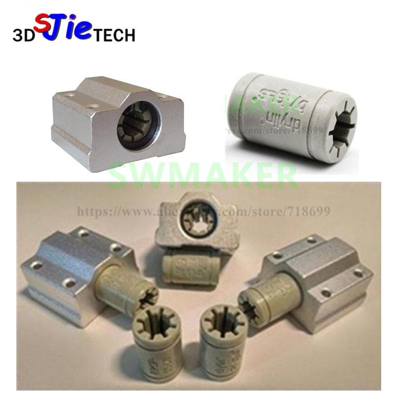 7pcs Polymer SC8UU & Bracket 8mm Linear Rail Double Igus Drylin RJ4JP-01-08 For Anet/Tronxy/Reprap Prusa I3 3D Printer
