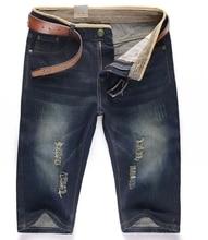 Men's Straight Short Jeans Men Denim Overalls Shorts Stonewashed Large Size 28-44 Hole Summer Fashion Jeans Masculino Blue S116