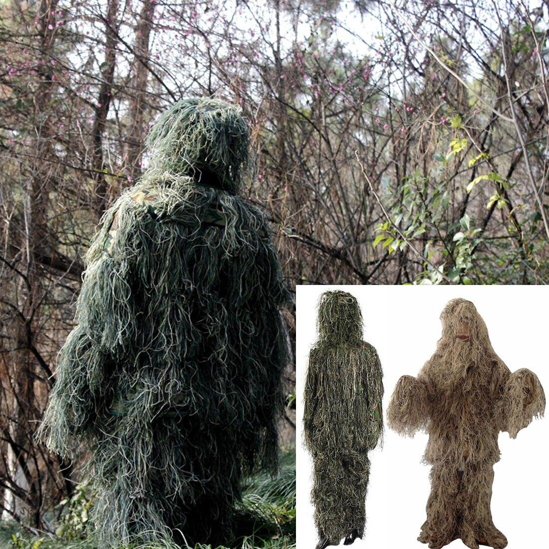 Vente chaude Réglable Taille Unisexe Camouflage Costumes Woodland Vêtements Ghillie Costume Pour La Chasse Armée Militaire Tactique Sniper Ensemble Kit