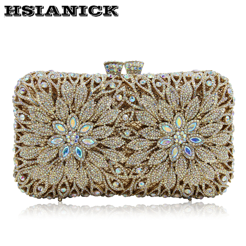 Europe and United States selling luxury flowers diamond evening bag High-grade full diamond bag hollow crystal clutch party bag europe tiger design hot selling high end luxury full diamond evening bag holding evening clutch handbag wedding party clutch bag
