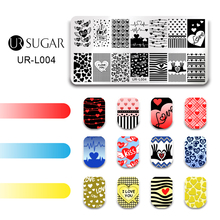 UR SUGAR Happy Valentine's Day Nail Stamping Template Sweet Kiss Dreamy Fairy Tale Rose Flowder Manicure Nail Art DIY Plate