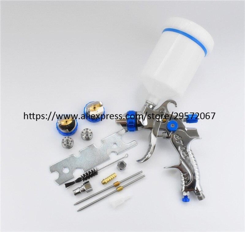 цена на Professional HVLP Spray Gun 1.4mm 1.7mm 2.0mm steel nozzle Paint spray gun auto Airbrush spray gun for painting cars