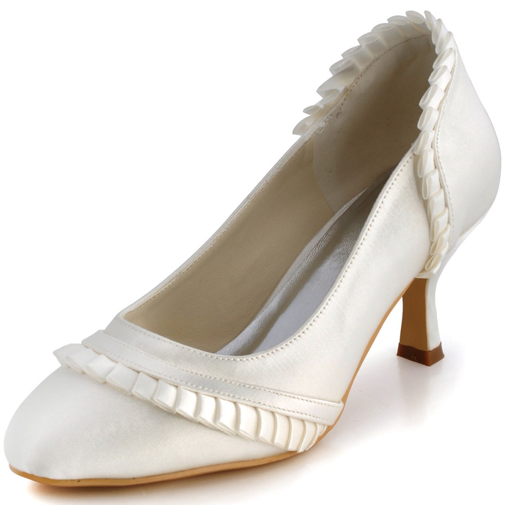 ФОТО EL-041 Ivory Pointy Toes Chunky Med Heel Satin Reception Wedding Bridal Party Shoes