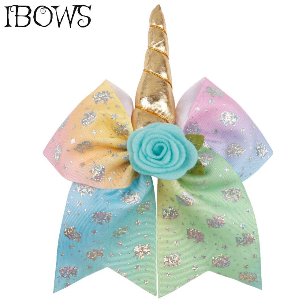 7 Inch Unicorn Hair Accessories Laser Print Hair Bows Flower Hair Clips For Girls Cheer Bows Boutique Cheerleading   Headwear