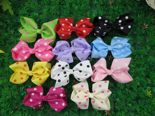 50pcs/lot,4''Baby Ribbon Polka Dot  Bows without Clip Grosgrain Hairclips Bow Dots Girls' Hair Accessories Via China Post