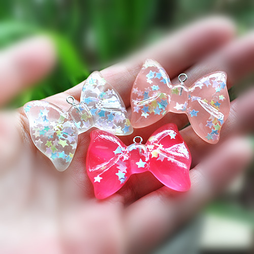 20pcs/lot Resin Charms heart bow star Necklace Pendant Flat Back Resin Necklace Pendant For DIY Earring Decoration -10 designs