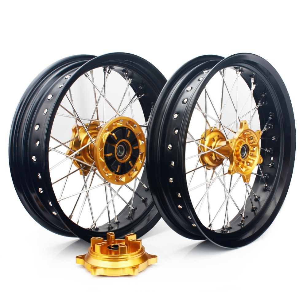 BIKINGBOY For SUZUKI DRZ400 00 04 DRZ400E 00 07 DRZ 400 S SM 05 17 16 15 14 Supermoto 17*3.5 17*4.25 Front Rear Wheel Rims Hubs