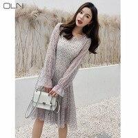 Korean models 22019 early spring new temperament waist thin bud silk screen dress women suit