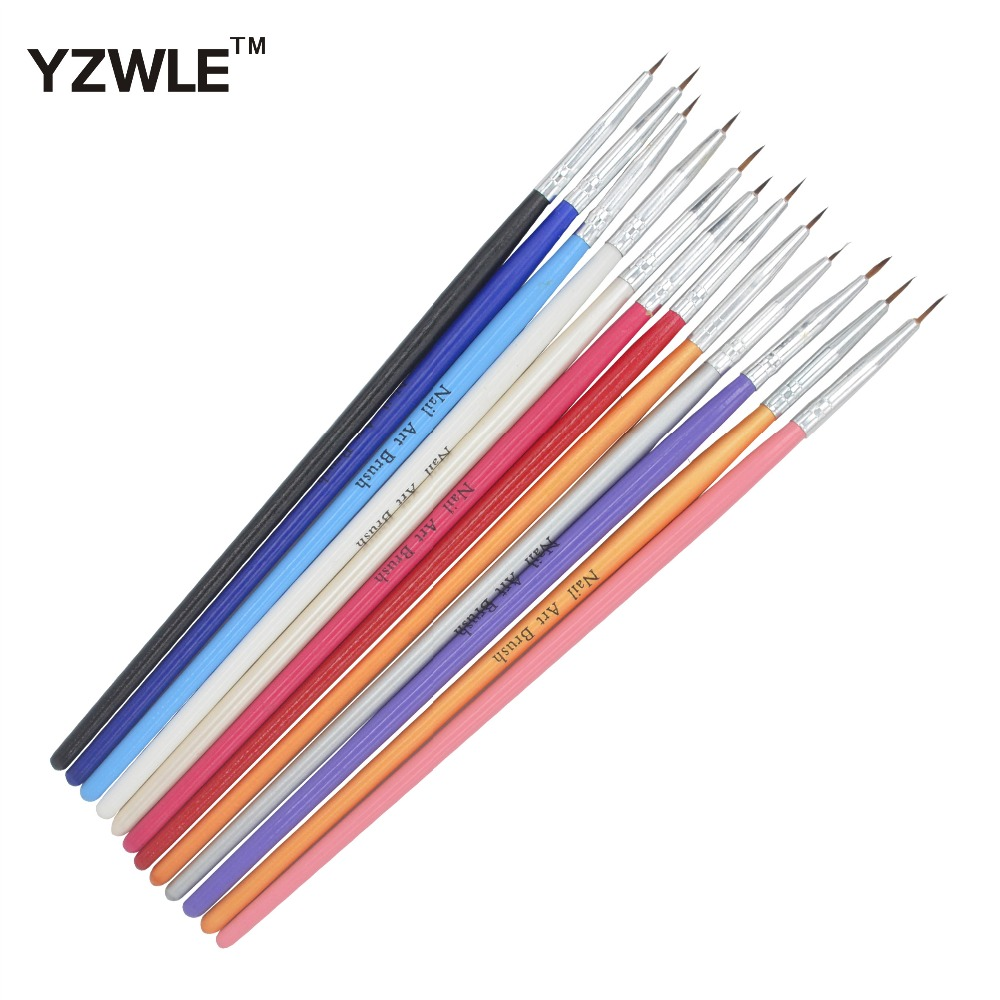 YZWLE 12 Pcs/Pack Colorful Nail Art Brush Tiny Acrylic Nail Art Tips Liner Painting Drawing Pen Nail Brush Pen Tools 36