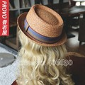 Summer Raffia Straw Fedora Hats For Men Chapeu Feminino Sun Beach Caps Pork Pie Free Shipping PGFE-040