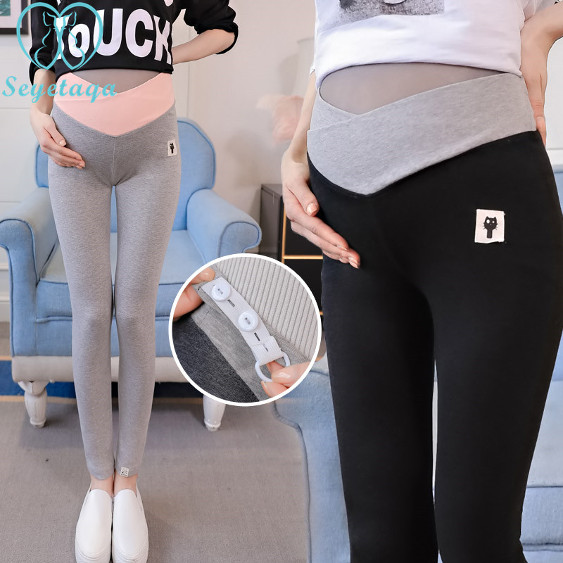 6026# 2018 Autumn Fashion Skinny Maternity Legging Low Waist Across V Belly Knitted Pants Clothes For Pregnant Women Pregnancy