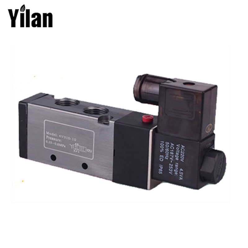 1Pcs 4V310-10 AC220V 5Way 2 Position Single Solenoid Pneumatic Air Valve 3/8 BSPT 4v210 08 pneumatic solenoid valve ac220v pt1 4 two position five way control