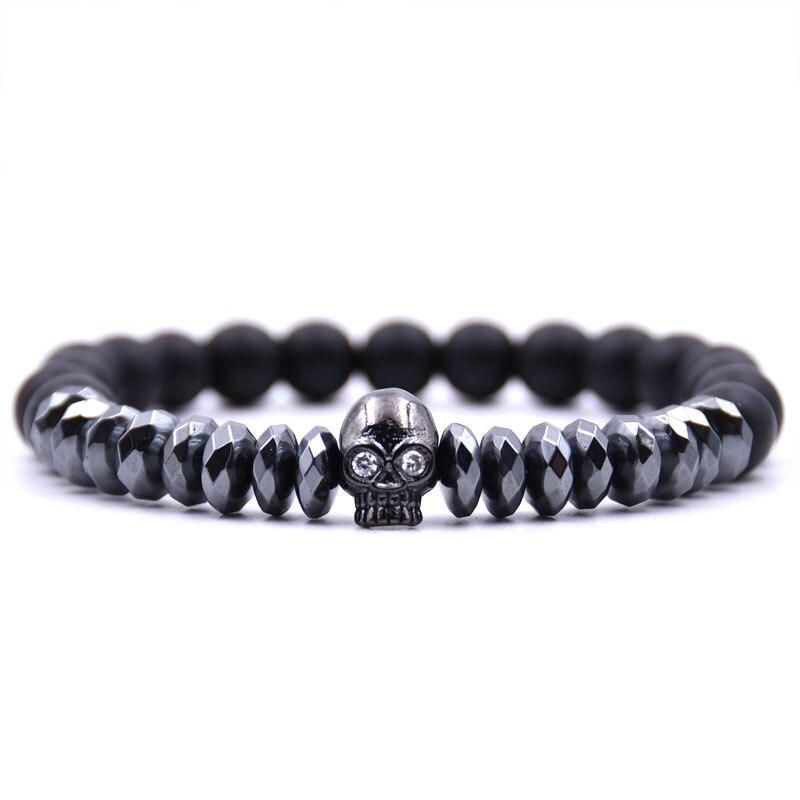 2514990cea57 HONEYYIYI Micro Pave Zirconia CZ calavera encantos pulsera hombres piedra  Natural mate 8mm cuentas pulseras para Mujeres Hombres joyería