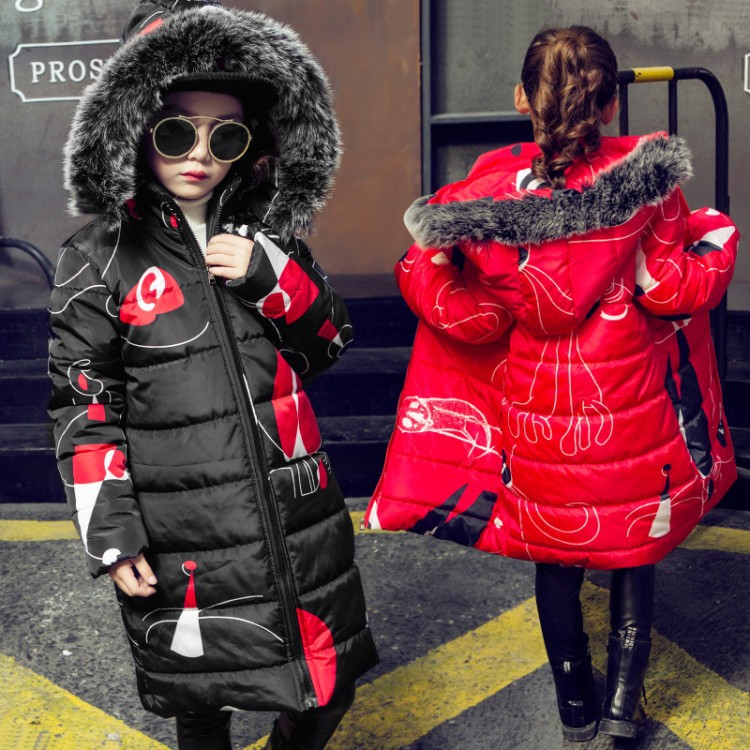 9292a0b1fc61 Teenage Girls 2018 New Black Red Thick Coat Winter Wear Costume For Size 6  7 8 9 10 11 12 13 14 Years Child Casual Cotton Jacket - aliexpress.com -  imall. ...