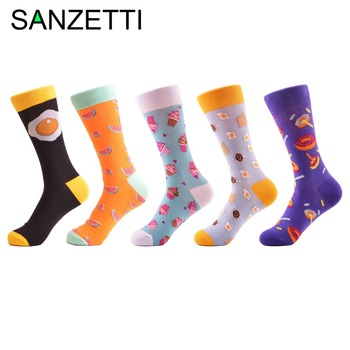 SANZETTI 5 Pair/Lot Novelty Doughnut Egg Pattern Women Causal Funny Socks Ladies Cotton Cute Female Wedding Socks For Gifts