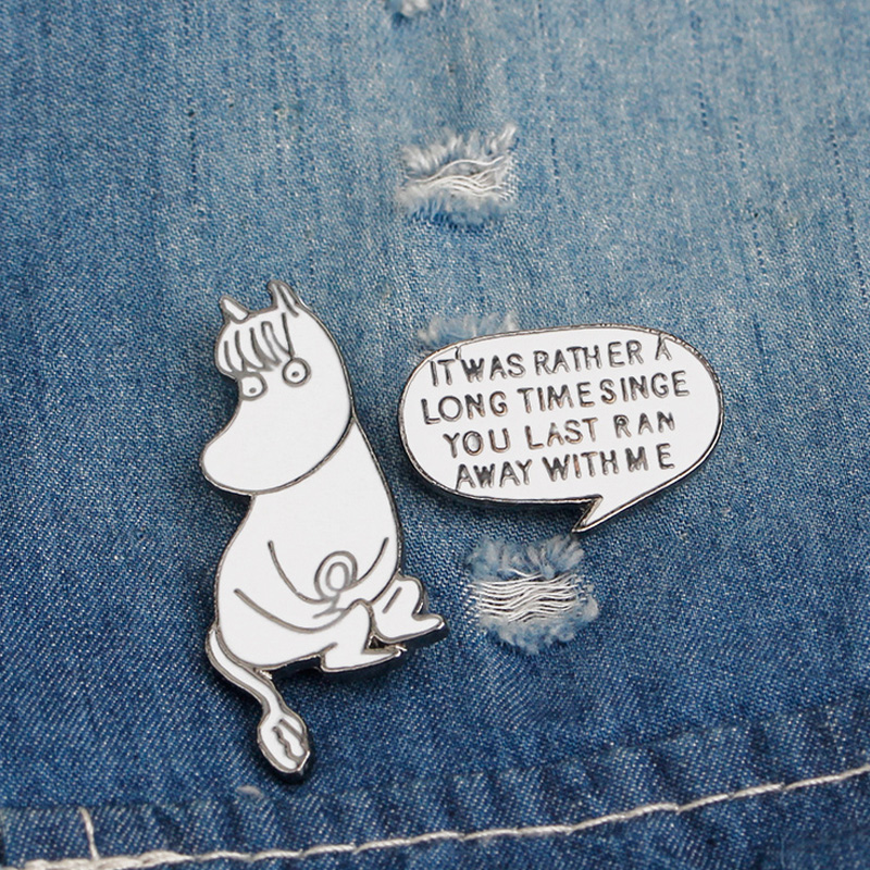 Apparel Sewing & Fabric Generous 2 Pcs/lot Novelty Cartoon Hippo Letter Metal Brooch Button Pins Denim Jacket Pin Jewelry Decoration Badge For Clothes Lapel Pins