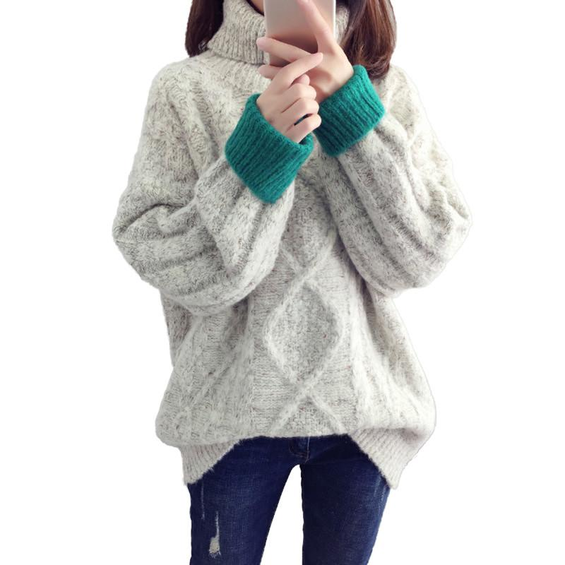 Women Autumn Winter Turtleneck Pullover Knitted Sweater Female Loose Casual Twist Pattern Sweaters Ladies Thicken Warm Tops V448