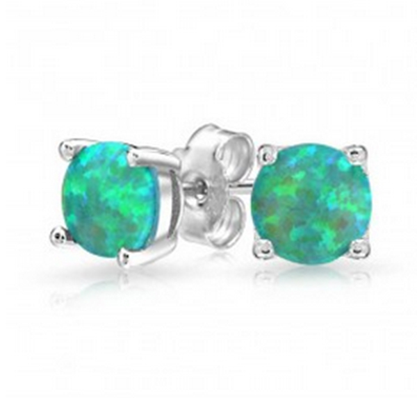 HAIMIS Wholesale Retail Green Fire Opal Silver Stud Earrings For Girls OE113 Free Gift Box