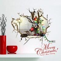 1 pz 580*664mm 3D Senso Renne Di Natale FAI DA TE Finestra Adesivi Murali Della Parete del PVC Decalcomanie/Adesivo Art murale Parete del Foro di Natale Decor