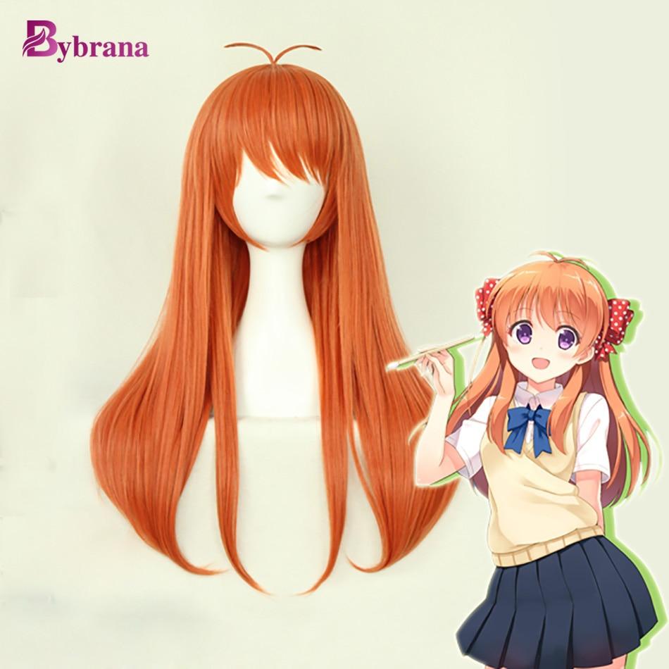 Bybrana 70CM Long Straight Hair Orange Wig Anime Wig ...