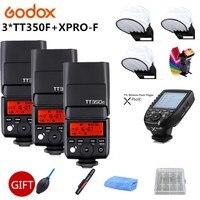 3x Godox TT350F Миниатюрная лампа вспышка флэш памяти для Fujifilm X T20 X T3 ttl HSS GN36 1/8000 S 2,4G Беспроводной Системы + Xpro F триггер