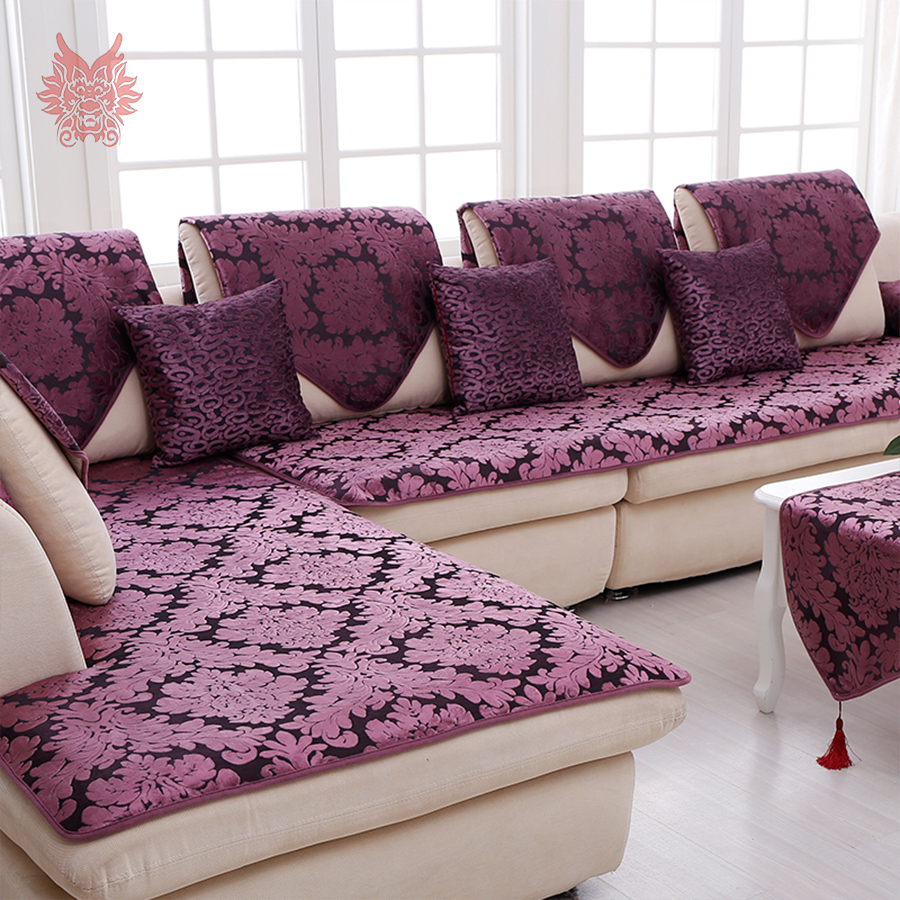 American style luxury purple floral jacquard terry cloth for Housse pour sofa