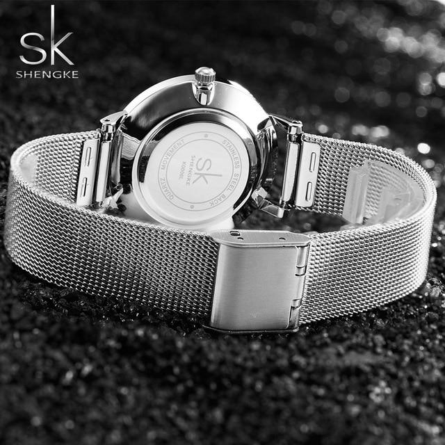 SK Super Mince Argent Maille En Acier Inoxydable Montres Femmes Top Marque De Luxe Casual Horloge Dames Montre-Bracelet Dame Relogio Feminino 4