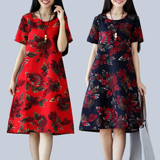 Women Summer Dress Floral Short Sleeve Casual Midi Dresses Elegant O-neck Pockets Cotton Linen Female Vestidos Plus Size S-5XL