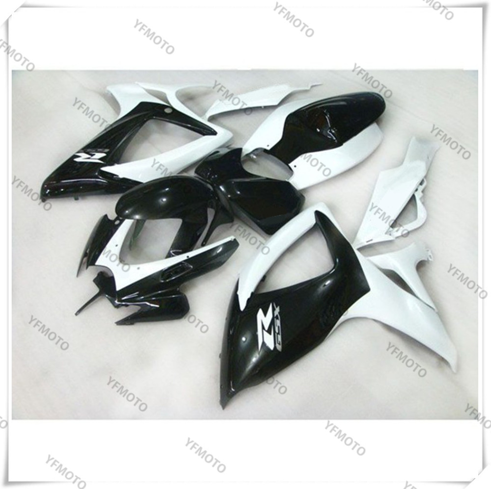 Motorcycle ABS White+Black Fairing Body Work  Cowling For SUZUKI GSXR600-750 GSXR 600 750 K6 2006-2007 +4 Gift new motorcycle ram air intake tube duct for suzuki gsxr600 gsxr750 2006 2007 k6 abs plastic black