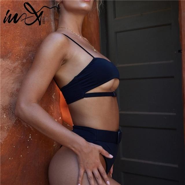 Black Sexy Badpak Buckle Bikini Set 2