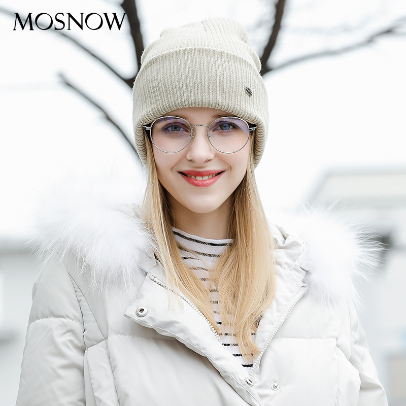 Lady Cashmere Knitted Hat Female Autumn Winter Women Knitting Hat Female   Skullies     Beanies   Hats Solid Color Knitted Cap B-9428