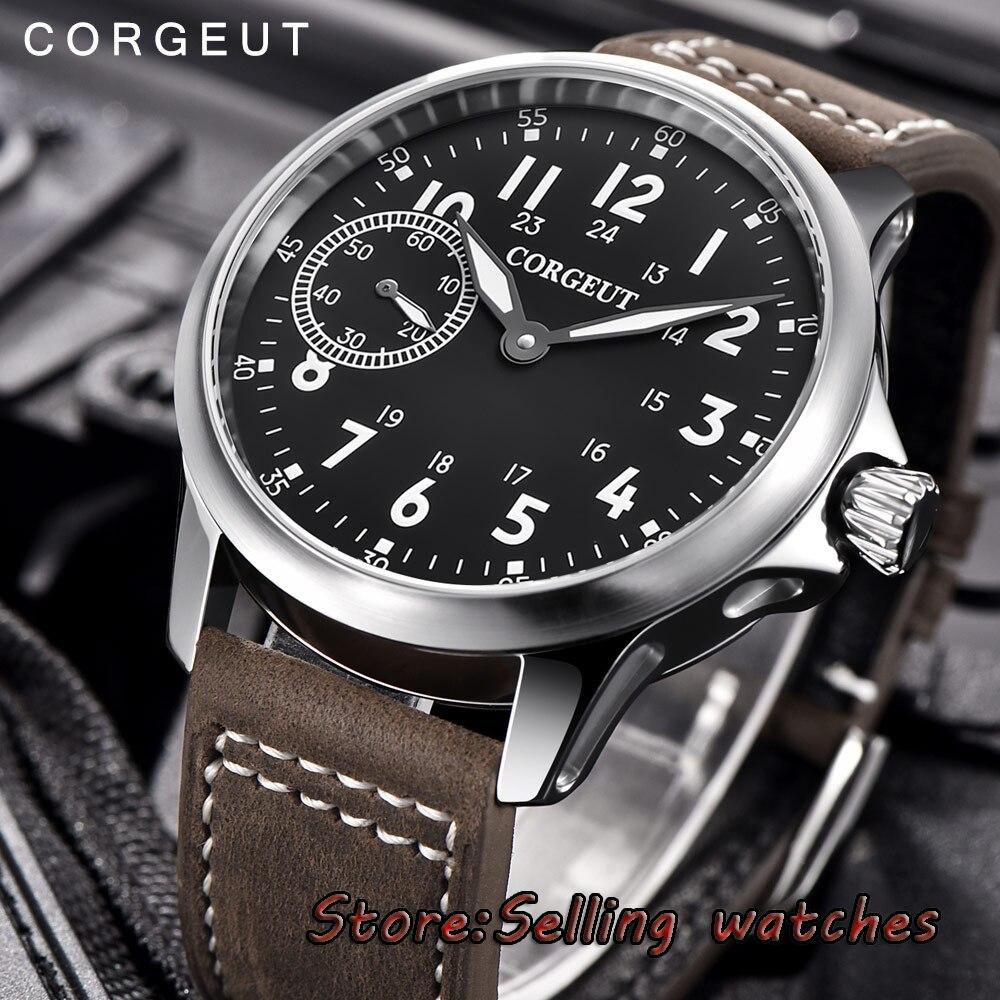 цена на 45mm Corgeut black dial brushed case 6497 hand winding movement mens watch