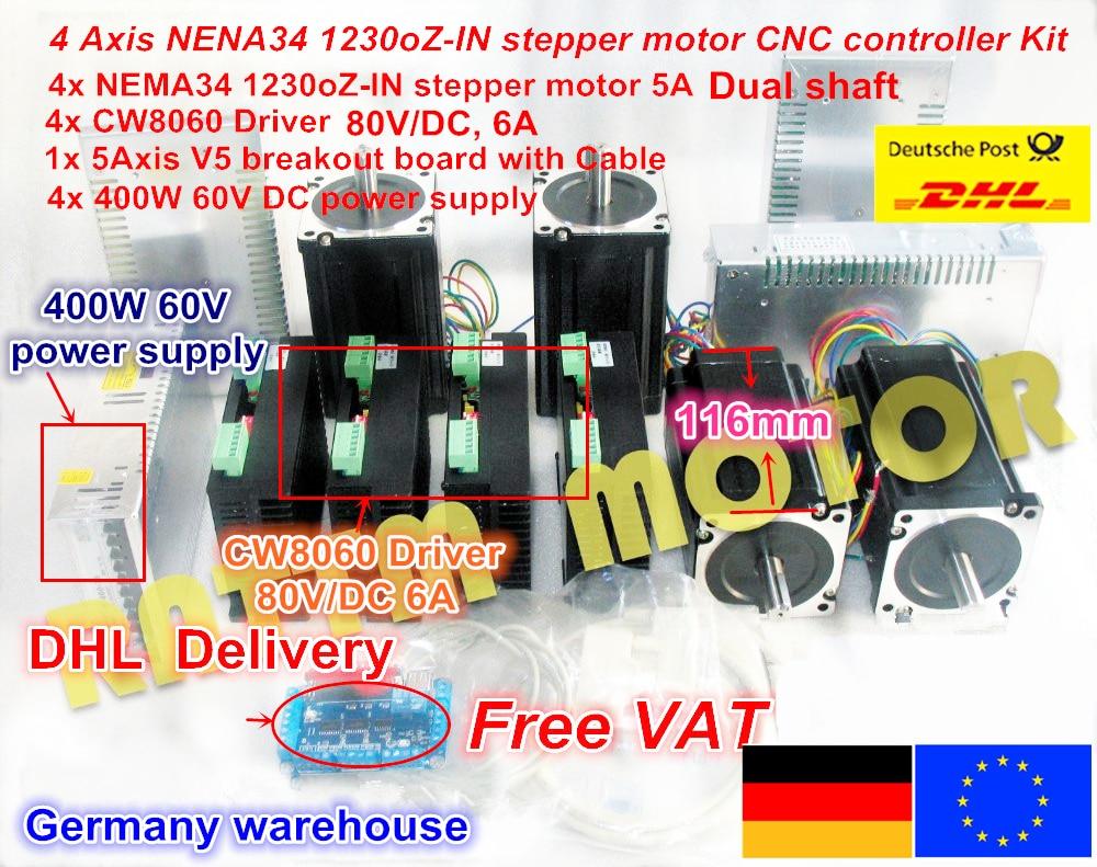 4 assi CNC kit del controller Nema 34 1230 Oz-in/5.0A Motore Passo a passo Doppio albero & Driver 6A /80VDC 256 per il Router di CNC di Fresatura Macchina