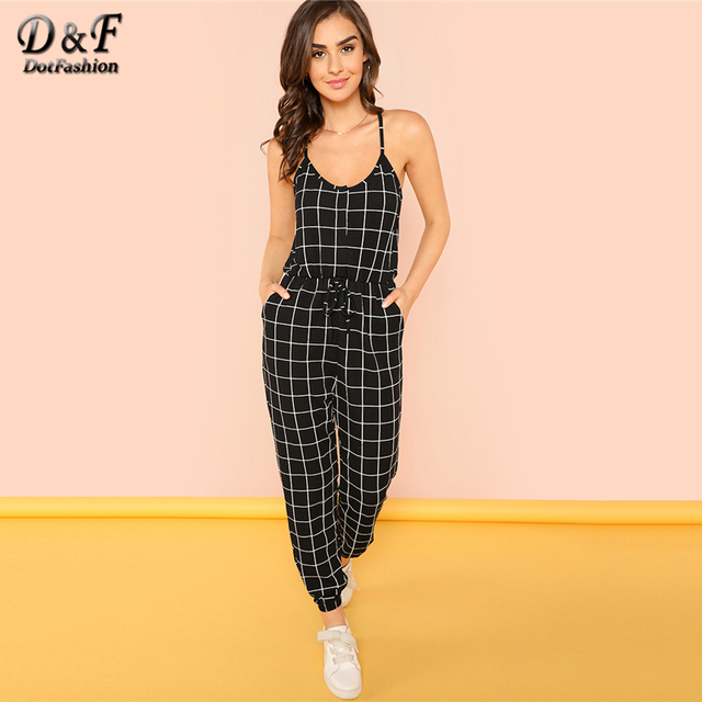 ae0af1e6ff7 Dotfashion Halter Neck Plaid Peg Leg Jumpsuits Women Black and White Summer  Cut Out Drawstring Spaghetti Strap Casual Jumpsuit
