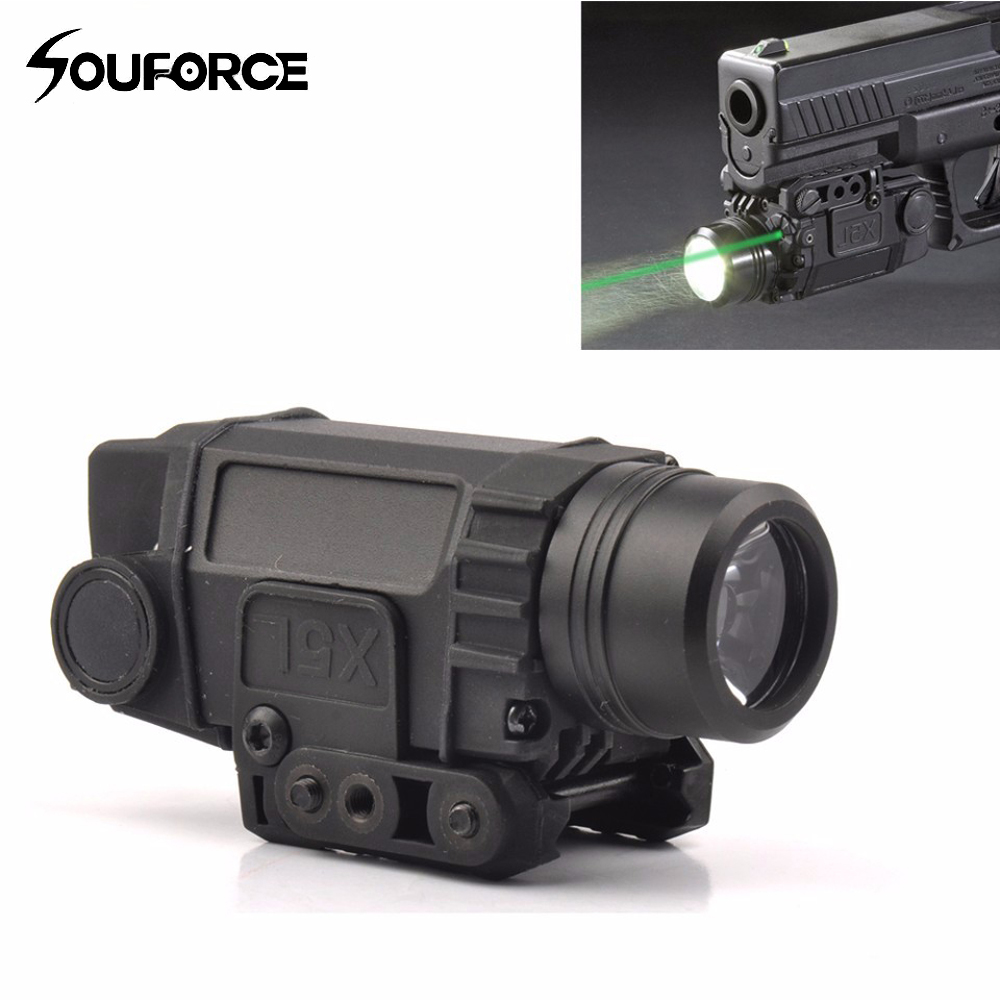 Tactical Green Laser Sight with LED Flashlight Combo with 20mm Universal Mount for Airsoft Pistol Handgun high quality 2 in 1 tactical insight red laser cree q5 led 300 lumen flashlight sight combo for pistol gun 2x3v cr123a