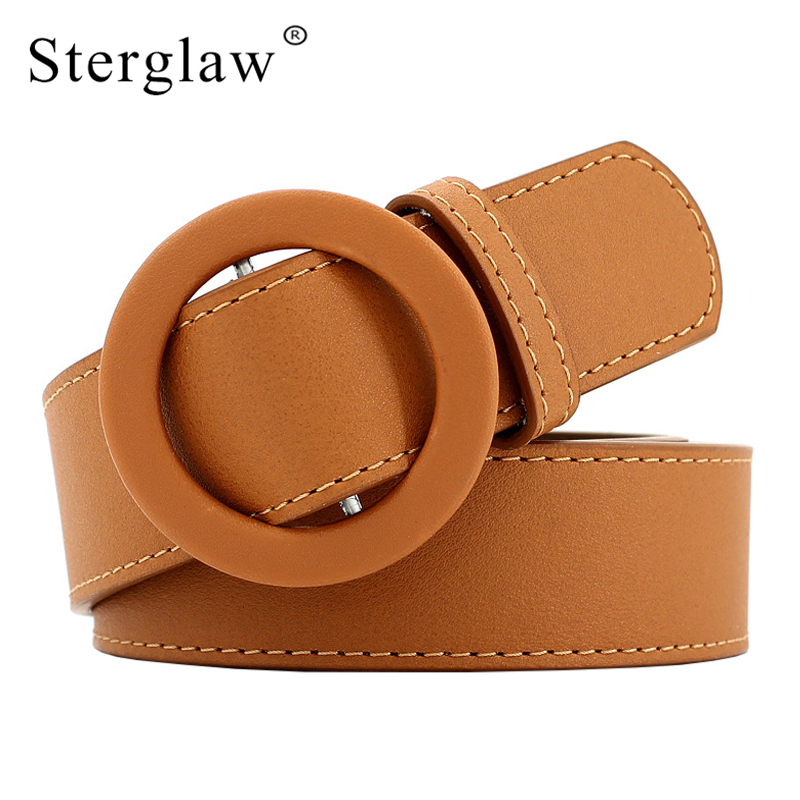 2019 New Round buckle leather of women   belt   Wide   belt   Female   Belts   metal Smooth buckle   belts   for women Lady girdle kemer F101