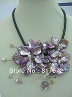 Woman Party Elegant Handmade Shell Slice Pearl Knit Purple Beautiful Flower Bib Pendant Chain Necklace Chunky