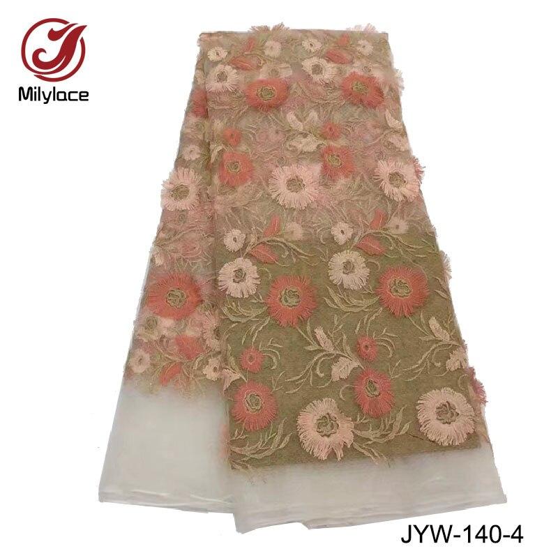 Новое поступление французского кружева свадебные кружевной ткани оптом Африканский кружевной ткани 5 ярдов цветы шаблоны кружева JYW-135