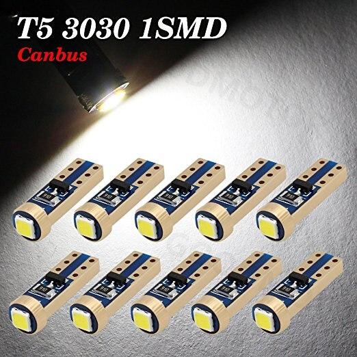 10x Super Bright 3030 SMD T5 Canbus Error Free Instrument