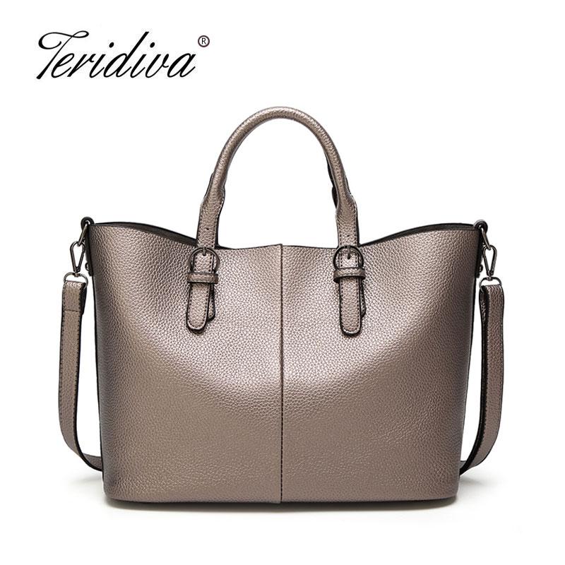 Teridiva High Quality Leather Women Bag Bucket Shoulder Bags Solid Big Handbag Large Capacity Top-handle Bags Tote Bags Female