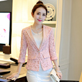 Lace Print 3/4 Sleeve Women Blazer Spring Casaco Feminino 2016 New Arrival Slim Female Casual Single Button Suit Jackets ZL3394