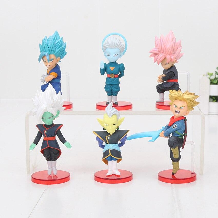 6pcsset Dragon Ball Super WCF Figure Super Saiyan Son Goku Black Roze Zamasu Trunks Vegetto Grand Priest PVC Model Toy 6-8cm