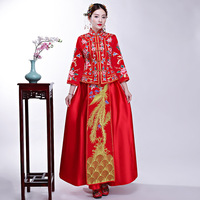 Classic Oriental Women Embroidery Qipao Chinese Style Wedding Bride Dress Marriage Suit Phoenix&Floral Sheath Long Cheongsam
