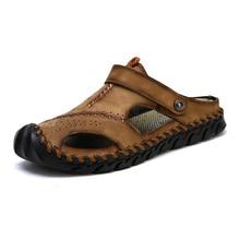 Classic Men Sandals Summer Soft Comfortable Men Slippers High Quality Genuine Leather Sandals Big Size Sandals Men Roman Shoes keerygo new high end leather comfortable feet sandals classic sandals