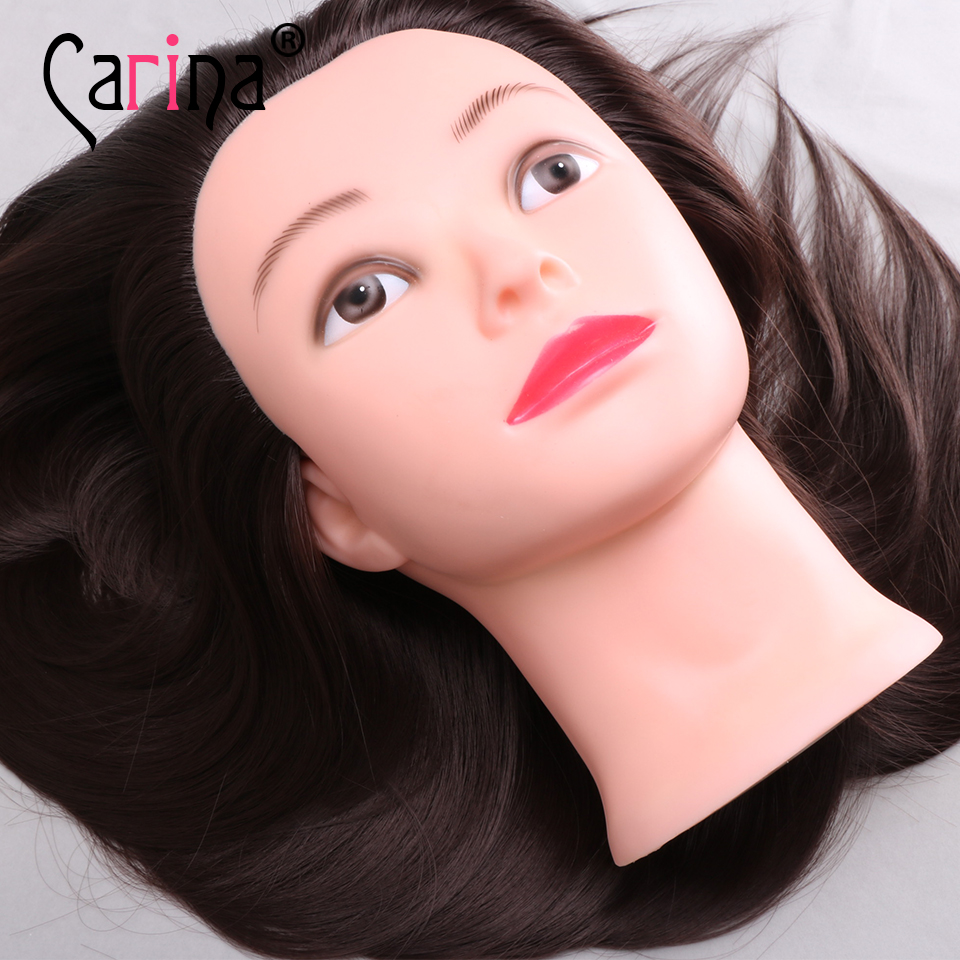 Mannequin Head Hair 20 quot Salon Training Maniqui Hairdressing Doll Heads Hairdresser Brown Hair Makeup with Adjustable Clamp in Mannequins from Home amp Garden