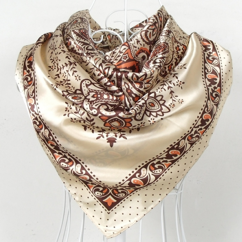 Beige Yellow Silk   Scarf   2015 New Design Ladies Large Square Sation   Scarves   Printed Spring Autumn Female Paisley   Scarves     Wraps