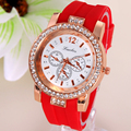 NEW Dress Casual Clock Female Relogio Luxury Quartz Watch Diamond Wristwatches Women Silicone Platinum Chain Fashion Watches