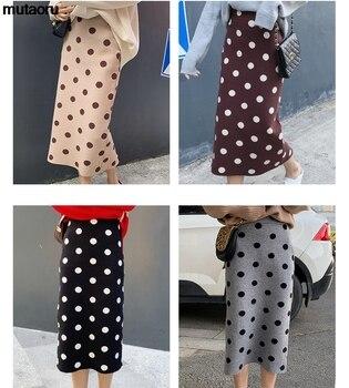 2019 autumn winter Polka Dot Knitted skirt women stretch high waist soft knit skirts woman 3
